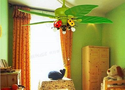 ventilador de techo infantil verde hojas