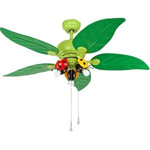 ventilador de techo para niños aspas son hojas verdes