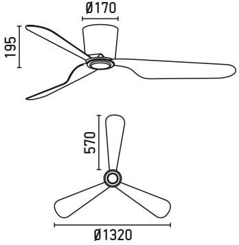 Ventilador de techo blanco Faro 33471 medidas