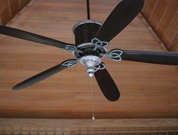 ventilador de techo con cadena de tiro rustico madera 5 aspas
